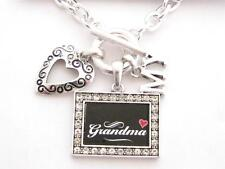 Grandma I Love Heart My Silver Toggle Necklace Black Crystal Rectangle Jewelry