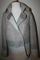 MISSONI Wool Knit Jacket Reversible 44 10 Textured Tan Gray Purple Stripe