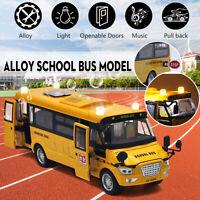 Sound Light Metal School Bus Model Open Doors Pull Back Car Toy Vehicle Kid Gift