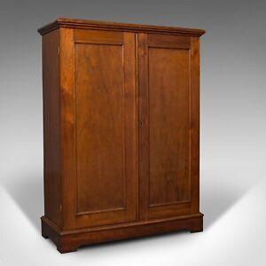 Antique Side Cabinet, English, Walnut, Drinks Cupboard, Bookcase, Edwardian