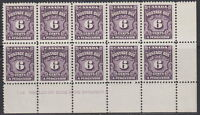 Canada #J19 6¢ POSTAGE DUE LR PLATE #1 BLOCK OF 10 MNH