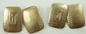 Antique Art Deco Vintage Estate Unisex Cufflinks 14K Yellow Gold Initials D Fine