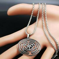 Stainless Steel Hecate Hekate Wheel Pendant Necklace Witch Wicca Goddess UK
