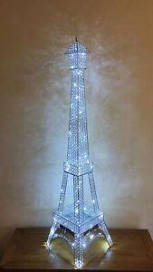 Chrome Silver Crystal Jewel Diamante Encrusted LED Paris Eiffel Tower Floor Lamp