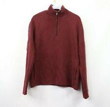 Hugo Boss Mens Large Regular Fit Half Zip Pullover Sweater Maroon Red