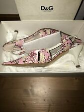 D&G Pink and cream floral leather Kitten heel sandals. Used VGC UK 71/2-8UK.