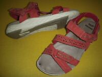 Earth Origins Westfield Wendy Suede Adj. Sport Sandals Women's 6.5 M Red /spot