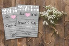 10 Personalised Wedding Save The Date Fridge Magnets with Silver envelopes