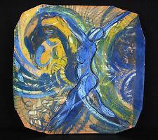 Danseuse nue, coupe à fruit en terre vernissée c1950 Nude dancer woman Fruit cut