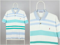 Mens Vintage 80s Yves Saint Laurent Shirt Polo Short Sleeve Striped White
