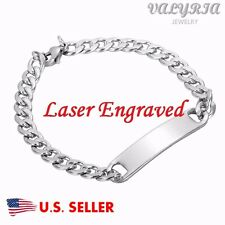 Engraved Personalized Silver Medical Alert ID Bracelet Name Tag Bracelet 7.9''