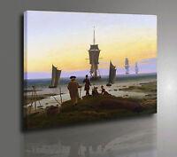 Caspar David Friedrich Stampa Fine Art HR su tela Canvas Donna al tramonto