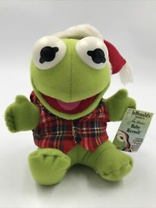 Baby Kermit The Frog Plush Toy Mcdonalds 1987 Santa Hat Vintage Jim Henson