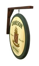 """Jameson Whiskey - 14"""" Diameter - 2 Sided Wooden Pub sign and Wall Bracket"""