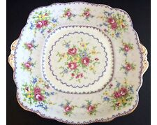 "Vintage Royal Albert Petit Point 9 & 3/4"" Handled Cake Plate England"