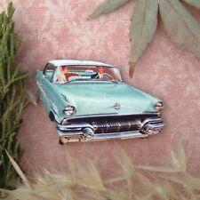 Vintage car brooch Wooden lapel pin Retro jewellery 50s style jewelry Rockabilly