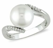 Zales Sterling Silver Fresh Water Pearl & Diamond Ring, Size 5