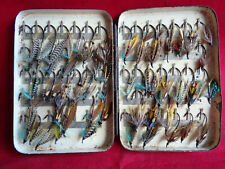 AN EARLY VINTAGE BLACK JAPANNED 70 CLIP POCKET FLY BOX + LOW WATER SALMON FLIES
