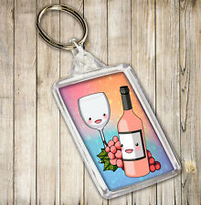 Rose Wine Bottle & Glass Themed Keyring  Birthday Christmas Gift Stocking Filler