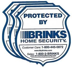 SET OF 3 WINDOW HOME SECURITY STICKERS DECALS BRINKS  WATERPROOF