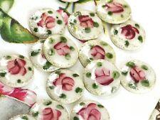 6 Vintage Floral Guilloche cabochons,8mm Vintage guilloche,Enamel Cabochons,G22F