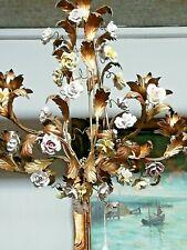 Beautiful golden metal chandelier and porcelain flowers 1970's