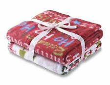 Christmas Throw Throw-over Twin Pack Red White Xmas Reindeer Catherine Lansfield