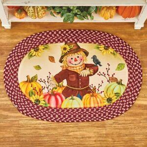 Thanksgiving Harvest Scarecrow Soft Plush Burgundy Braided Kitchen Accent Rug