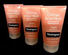 Neutrogena Oil-Free Pink Grapefruit Foaming Acne Wash Face Scrub (LOT OF 3)