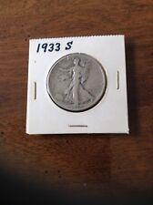 1933 S Walking Liberty 90% Silver Half Dollar