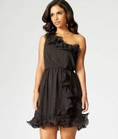 NEW Lipsy Chiffon One Shoulder Black Dress Size 10 BNWT evening / prom