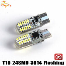 2Pcs T10 W5W 194 168 24SMD 3014 LED Silica Strobe Flash Tail Light Brake Stop