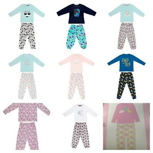 Girls Boys Kids Unicorn Dream Dinosaur Fleece Pj's Pajamas Long Sleeves New