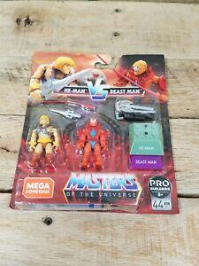 He-Man vs Beast Man Mega Construx MOTU Masters Of The Universe Figures Set New!!