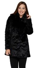 Dennis Basso Platinum Collection Jacquard Faux Fur Coat,Navy/Black,Size XXS,$199