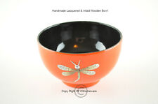 Handmade Decorative Wooden Bowl, Lacquered & Inlaid With Egg-Shell, Orange-Black