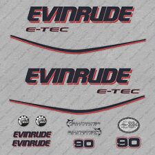 Evinrude 90 hp ETEC outboard engine decals sticker set reproduction White Cowl