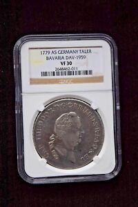 1779-AS GERMANY TALER BAVARIA DAV-1959  VF 30 GERMAN STATES  SILVER COIN