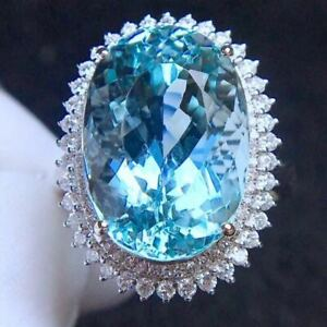 Certified Natural London Blue Topaz Silver Ring Women Gift