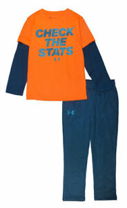 """Under Armour Boys """"Check The Stats"""" Top 2pc Track Pant Set Size 5"""