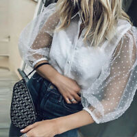 Womens Dotted Mesh Sheer Top Shirt 3/4 Sleeve Cocktail Evening Party Club Blouse