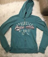 Aeropostale Teal New York City Athletics Full Zip Faded Hoodie Women's Small