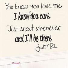 Huhome PVC Wall Stickers Wallpaper English lyrics Justin Bieber bedroom home dec