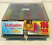 "Verbatim 3.5"" HD Floppy Disks IBM 1.44 MB 97 Pack Colors Diskette Case w/ Keys"