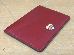 Anya Hindmarch card wallet RED with White Rainbow Heart Motive