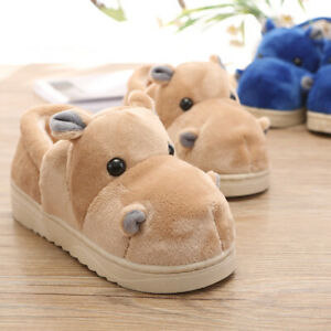 Cute Hippo Wool Cotton Slippers Bag with Warm Shoe Indoor Household Thick Bottom
