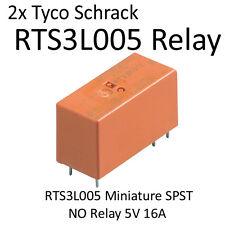 2x Tyco Schrack RTS3L005 Miniature SPST  NO Relay 5V 16A
