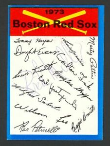 1973 Topps Blue Team Checklists Boston Red Sox #3 - Signed Auto (Rick Miller)