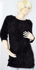 RIVER ISLAND Black Fur Winter Warm Long Jumper Long Sleeve Woman UK10 New