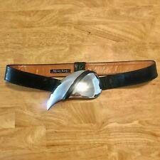 Alexis Kirk Oversized Paisley Kidney Shaped Silver Buckle Belt Vtg Art to Wear